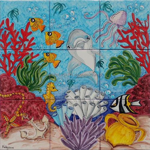 Un fondale marino in casa pannello decorato a mano con for Piastrelle 200x100