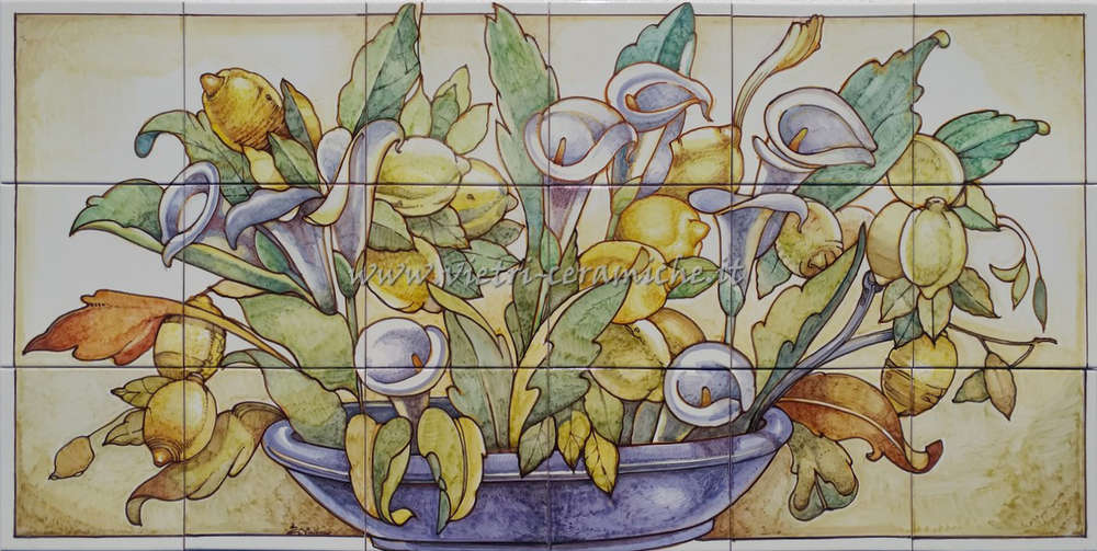 Piastrelle artistiche in ceramica vietri cm vaso con calle