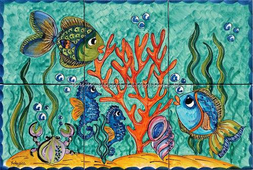 Ceramica di vietri fondale marino decorato a mano con pesci e coralli