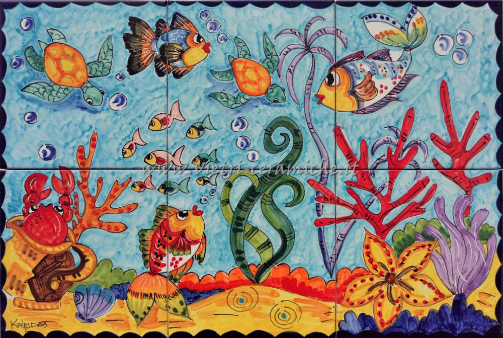 Ceramica di vietri pannello di piastrelle con coralli e pesci cm