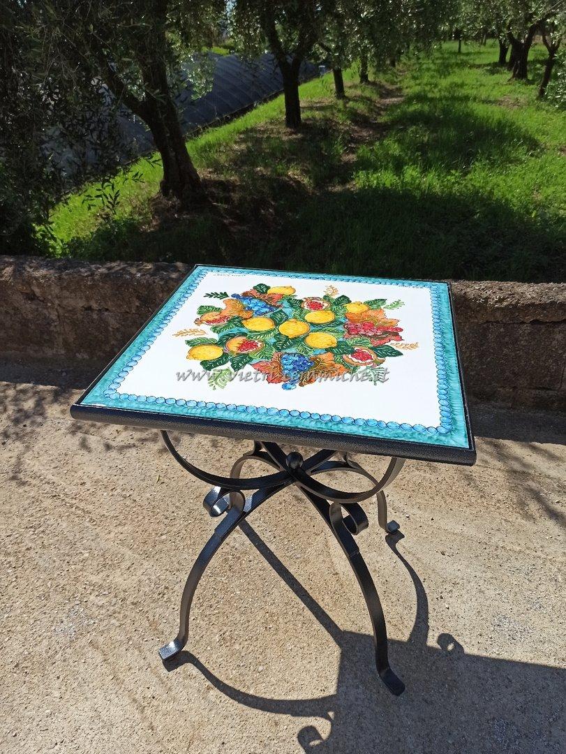 Tavolo da Giardino Piastrellato Fiori e Frutta Vietri con ...