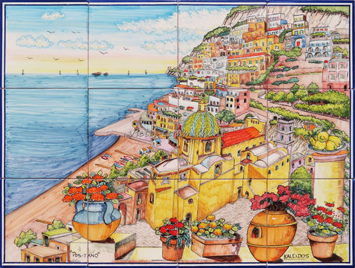 Pannello di Piastrelle in Ceramica Wonderful Positano 80x60 cm