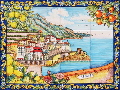 Pannello Murale in Ceramica Un Weekend ad Amalfi 80x60 cm